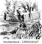 black and white mountain... | Shutterstock .eps vector #1390416167
