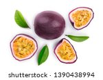 passion fruits and a half with...   Shutterstock . vector #1390438994