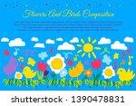 birds and flowers flat banner... | Shutterstock .eps vector #1390478831
