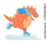 happy dinosaur skating. cute...   Shutterstock .eps vector #1390484867