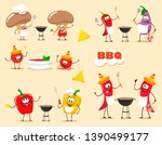 funny  cartoon vegetables cook... | Shutterstock .eps vector #1390499177