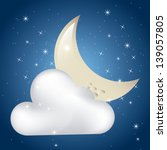 Clouded Moon Over Starry Sky...