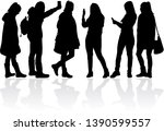 womens black silhouettes ... | Shutterstock .eps vector #1390599557