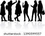 womens black silhouettes ... | Shutterstock .eps vector #1390599557