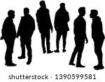 silhouettes of a man. vector... | Shutterstock .eps vector #1390599581