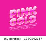 vector pink and gold alphabet... | Shutterstock .eps vector #1390642157
