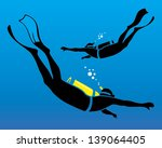 vector illustration of scuba diving
