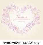 wreath of roses or peonies... | Shutterstock .eps vector #1390653017