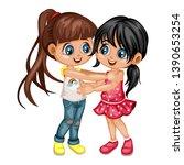 two lovely happy best friends... | Shutterstock .eps vector #1390653254