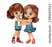 two lovely happy best friends... | Shutterstock .eps vector #1390653311
