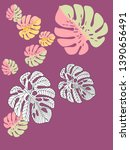 vector tropical pattern with... | Shutterstock .eps vector #1390656491