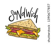 sandwich hand drawn vector... | Shutterstock .eps vector #1390677857