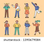 positive emotional character.... | Shutterstock .eps vector #1390679084