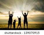 silhouette of happy family at... | Shutterstock . vector #139070915