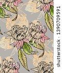 floral seamless pattern. wild... | Shutterstock .eps vector #1390709591