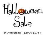 halloween sale   typography ... | Shutterstock . vector #1390711754