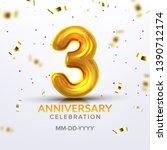 third anniversary birth... | Shutterstock .eps vector #1390712174