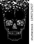 skull made with flying bats  ... | Shutterstock . vector #1390712927