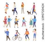 man and woman walking outdoor... | Shutterstock .eps vector #1390720424