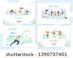 people doing sports activity... | Shutterstock .eps vector #1390737401