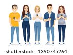 beautiful young people in...   Shutterstock .eps vector #1390745264