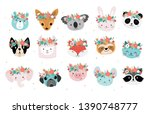 cute animals heads with flower... | Shutterstock .eps vector #1390748777