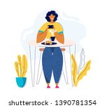 young woman taking photo of... | Shutterstock .eps vector #1390781354