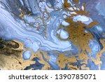 blue marbling pattern. golden... | Shutterstock . vector #1390785071