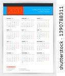 calendar for 2020 year. week... | Shutterstock .eps vector #1390788311
