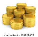Pile Of Golden Coins Isolated...