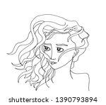 hand drawn portrait of a girl...   Shutterstock .eps vector #1390793894