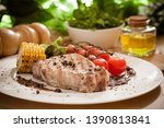 grilled steak meat with... | Shutterstock . vector #1390813841