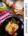 delicious egg omelette with... | Shutterstock . vector #1390813871