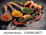 variety spices in the spoons on ... | Shutterstock . vector #1390813877