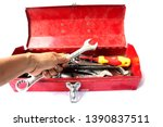 toolbox with tool isolated on... | Shutterstock . vector #1390837511