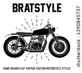 hand drawn flat vintage custom... | Shutterstock .eps vector #1390845737