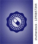 pill icon inside emblem with... | Shutterstock .eps vector #1390857344