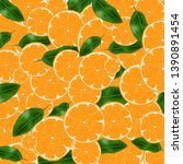 vector wallpaper with oranges...   Shutterstock .eps vector #1390891454