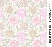 seamless pattern with peony... | Shutterstock .eps vector #1390892477
