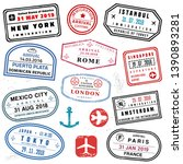passport stamp set   novelty... | Shutterstock .eps vector #1390893281