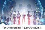 business team members standing...   Shutterstock . vector #1390898264