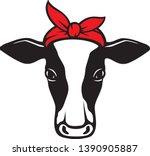 cow head with bandana vector... | Shutterstock .eps vector #1390905887