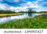 Summer Rural River Landscape...