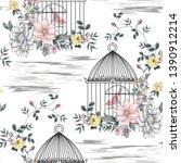 seamless vintage flowers bird ... | Shutterstock .eps vector #1390912214