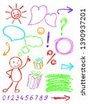 crayon design element set and... | Shutterstock .eps vector #1390937201