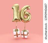number 16 birthday celebration... | Shutterstock . vector #1390940687