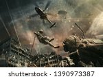 military helicopter and forces... | Shutterstock . vector #1390973387