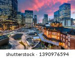 tokyo railway station and tokyo ... | Shutterstock . vector #1390976594
