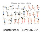 arm workout for men and women... | Shutterstock . vector #1391007314