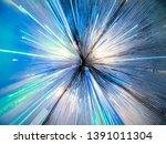 Blue streaks of light. Abstract motion background. Colorful neon lines. Blue bands of hyper speed in space - stock photo
